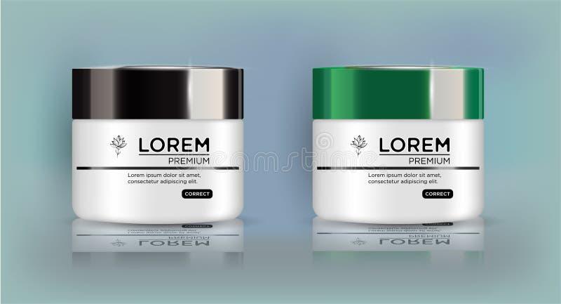 圆的白色集合,塑料瓶子有黑和绿色盒盖的化妆用品的 库存例证