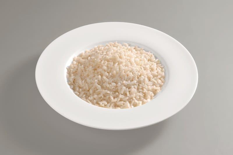圆的盘用仅煮沸的米 库存照片