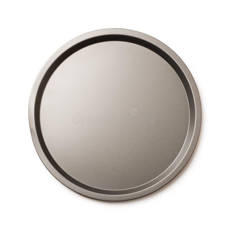 圆的空的听型烤模或圆的金属盘子 免版税库存图片