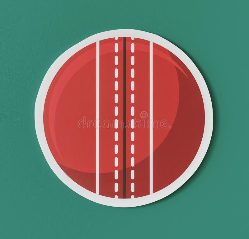 圆的红色板球象 皇族释放例证