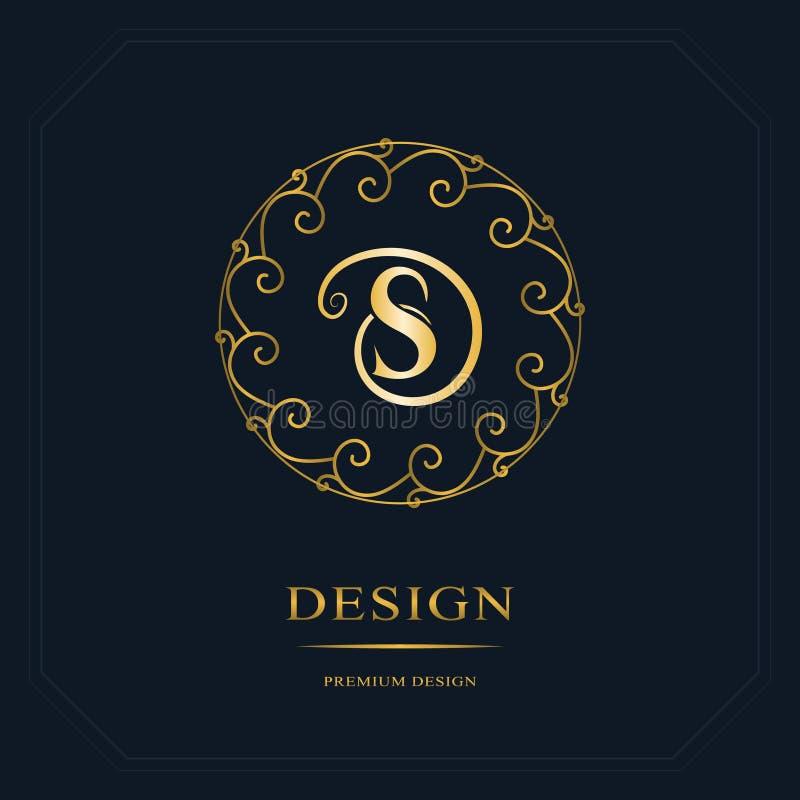 圆的线图表组合图案 文雅艺术商标设计 字母S 优美的模板 企业标志,餐馆的, Royalt身分 皇族释放例证