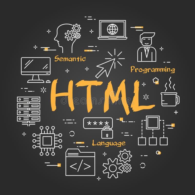 圆的线性横幅-在黑黑板的HTML概念 皇族释放例证
