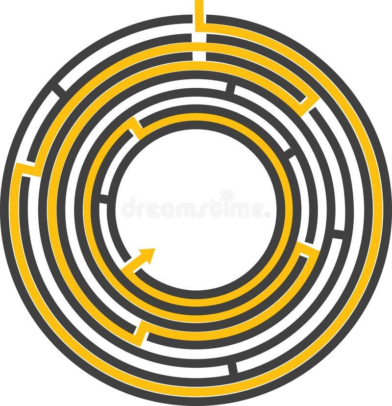 圆的编辑可能的迷宫 库存例证