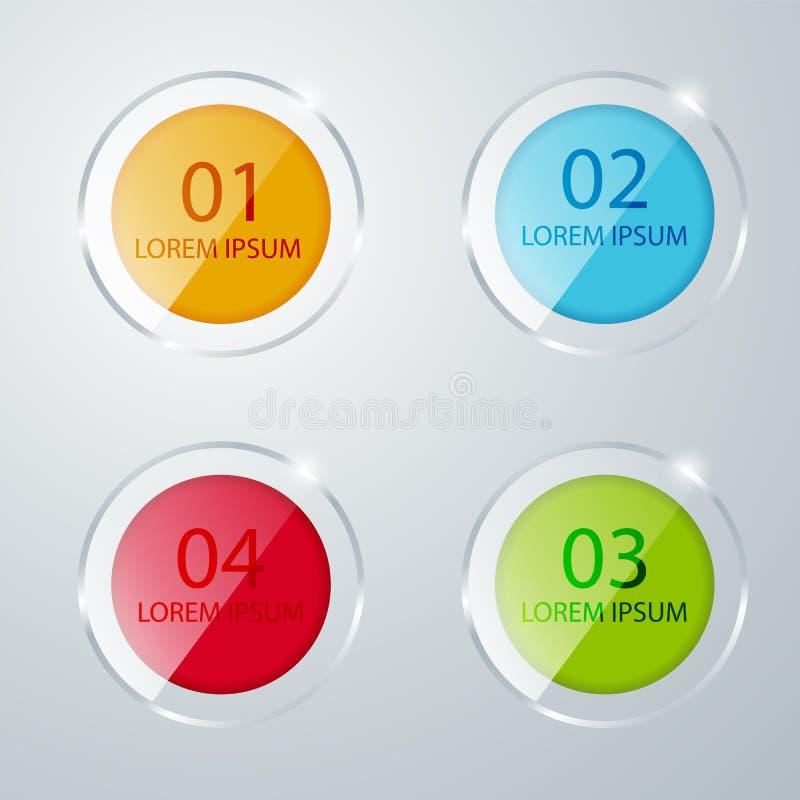 圆的色的玻璃象 钞票 您的企业介绍的模板 与色的正方形的透明标签 皇族释放例证