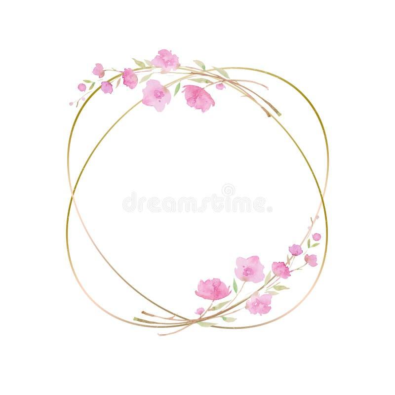 圆的花圈,与樱花,佐仓,与桃红色花的分支,水彩例证的框架 皇族释放例证