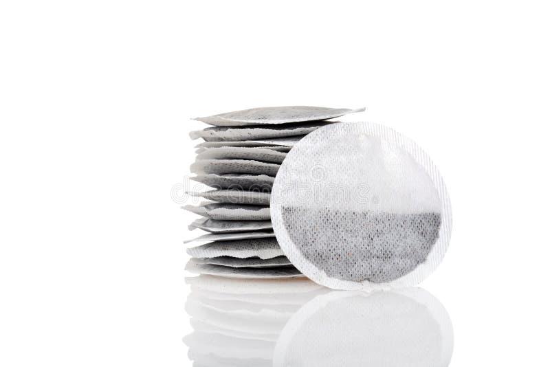 圆的茶袋特写镜头  免版税库存图片