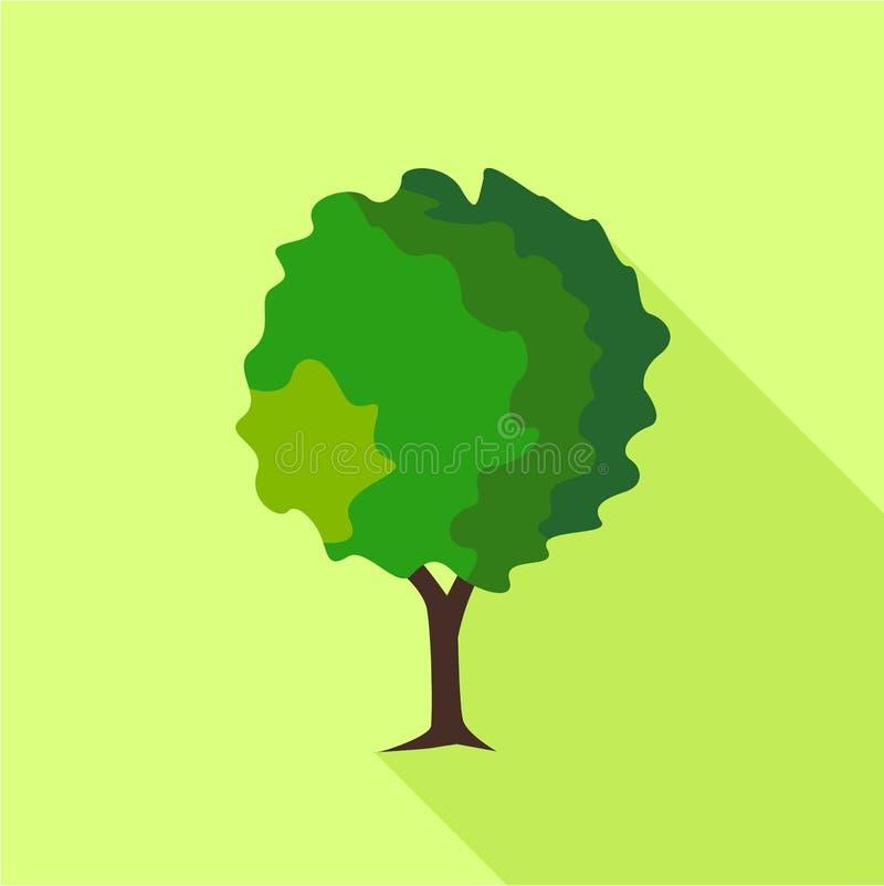 圆的落叶树象,平的样式 库存例证