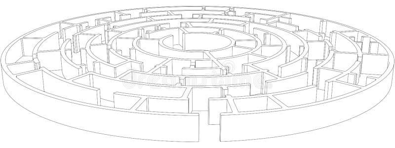 圆的被缠结的迷宫 向量 皇族释放例证