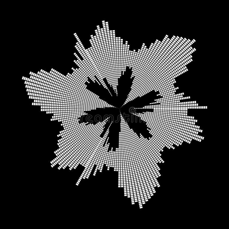 圆的被隔绝的音乐波浪调平器合理的标志象设计  向量例证