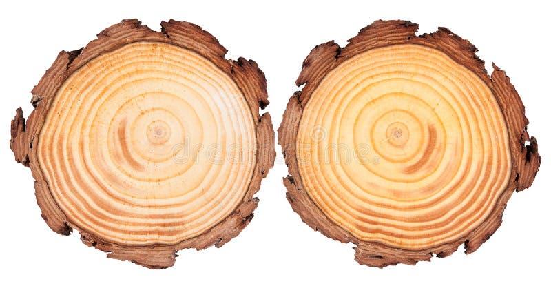 圆的裁减木头背景 库存图片