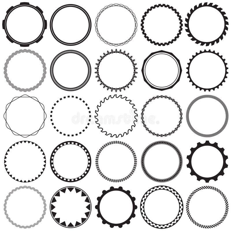 圆的装饰装饰边框架的汇集有清楚的背景 葡萄酒标签设计的理想 库存例证