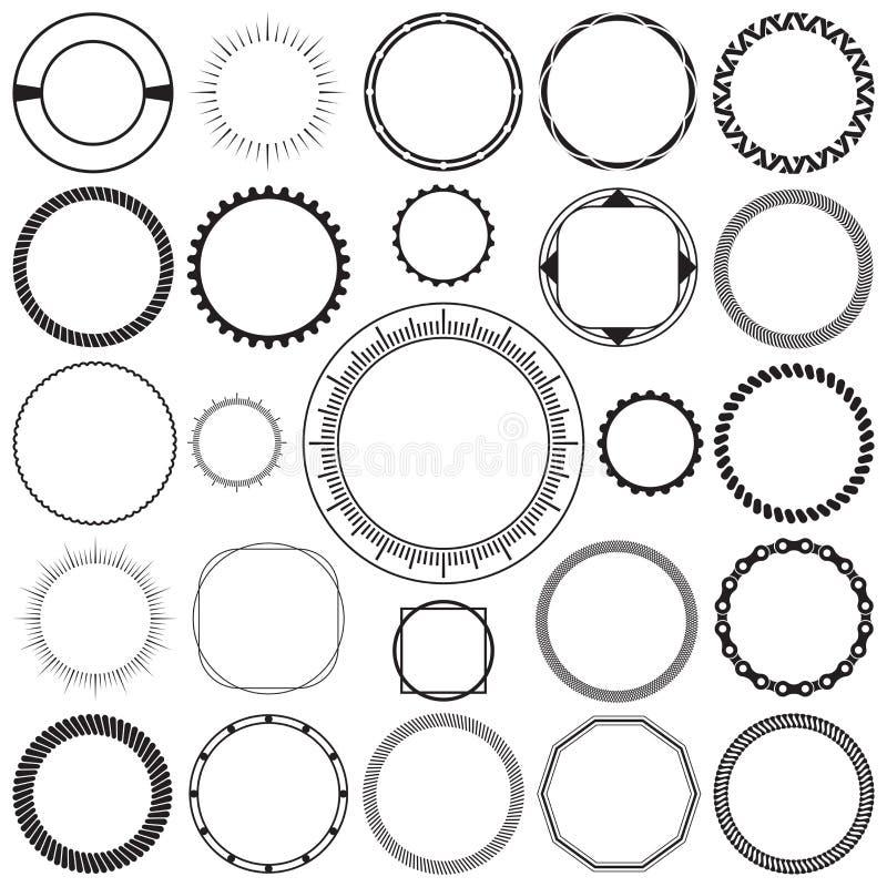 圆的装饰装饰边框架的汇集有清楚的背景 向量例证
