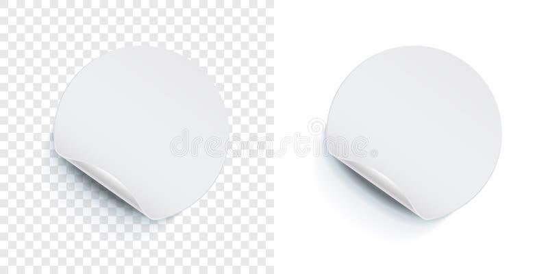 圆的贴纸标记果皮折叠角落 传染媒介空白空的价牌,商店折扣销售海报,被隔绝的圆的黏着性笔记 向量例证