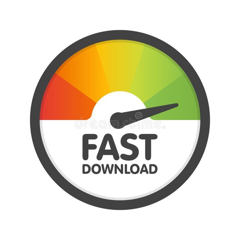 圆的车速表快速的下载速度 传染媒介例证模板 向量例证