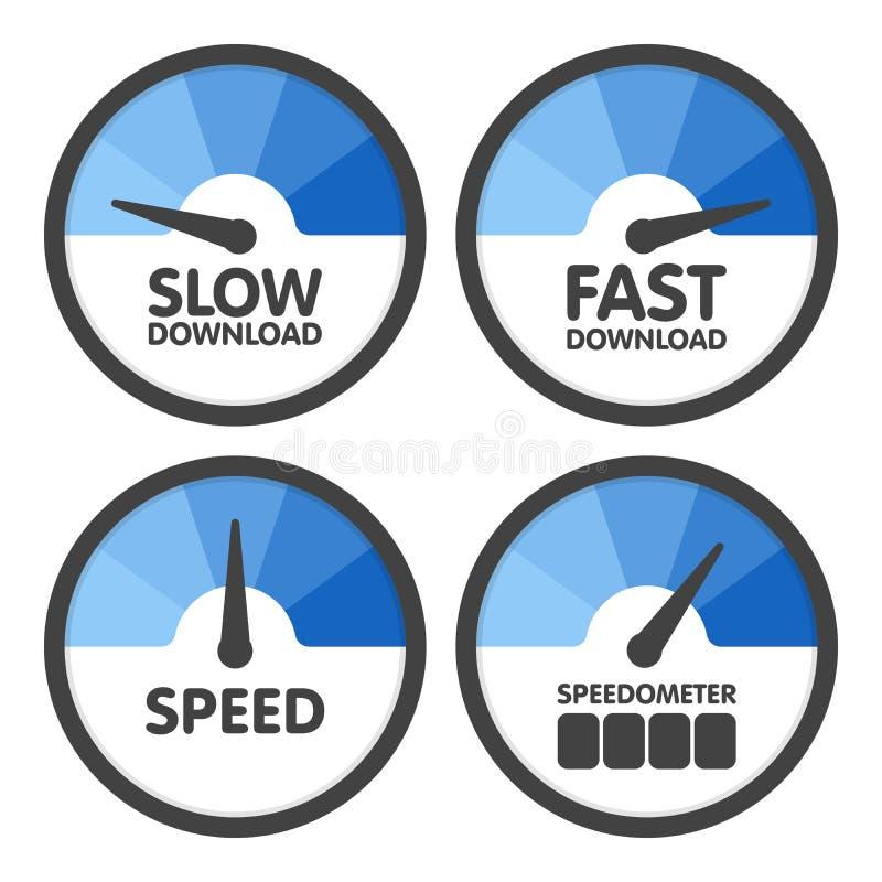 圆的车速表设置了与缓慢和最快速度下载 也corel凹道例证向量 向量例证