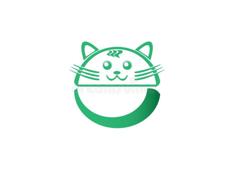 圆的逗人喜爱的猫绿色头和大yail商标设计的 皇族释放例证