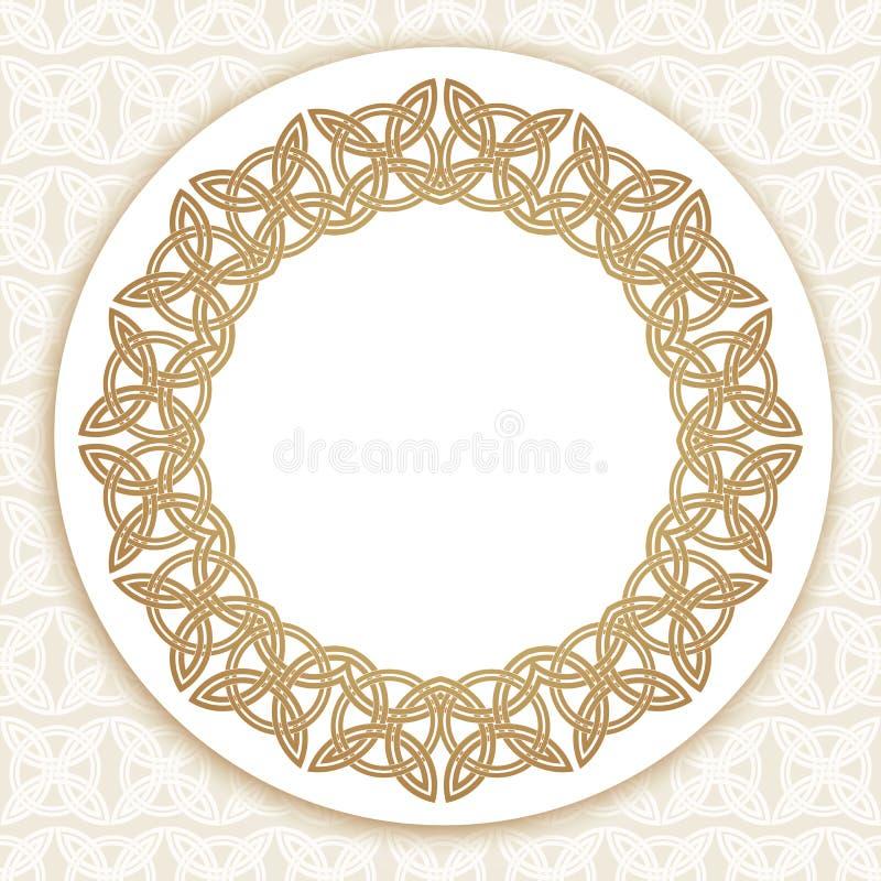 圆的金子豪华样式边界 库存例证