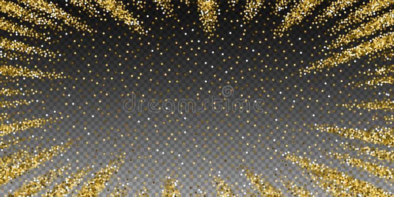 圆的金子闪烁豪华闪耀的五彩纸屑 scat 向量例证