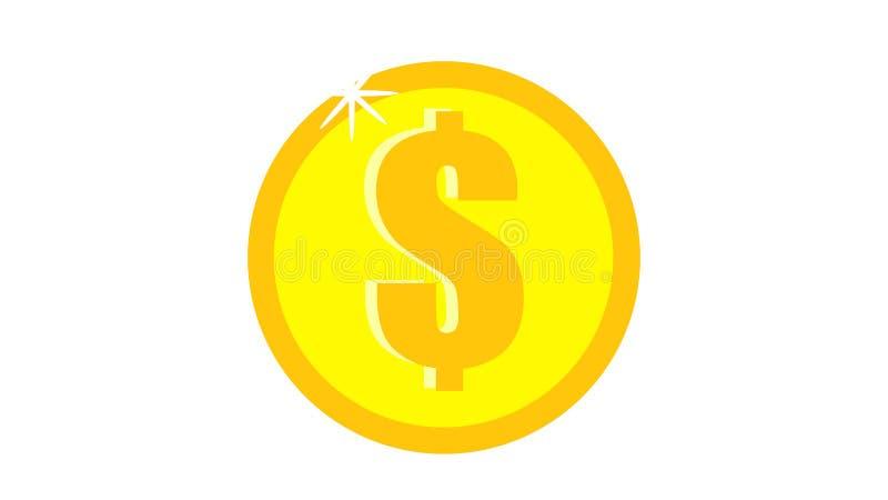 圆的金金钱一枚美丽的欢乐明亮地色的不可思议的发光的发光的昂贵的豪华美元硬币在白色背景的 向量例证
