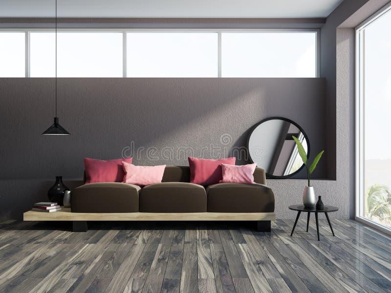 圆的镜子褐色沙发灰色客厅内部 向量例证