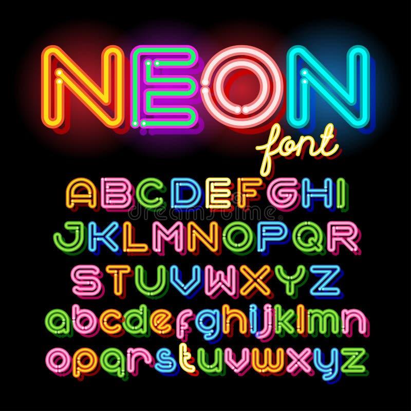 圆的霓虹字体 库存例证