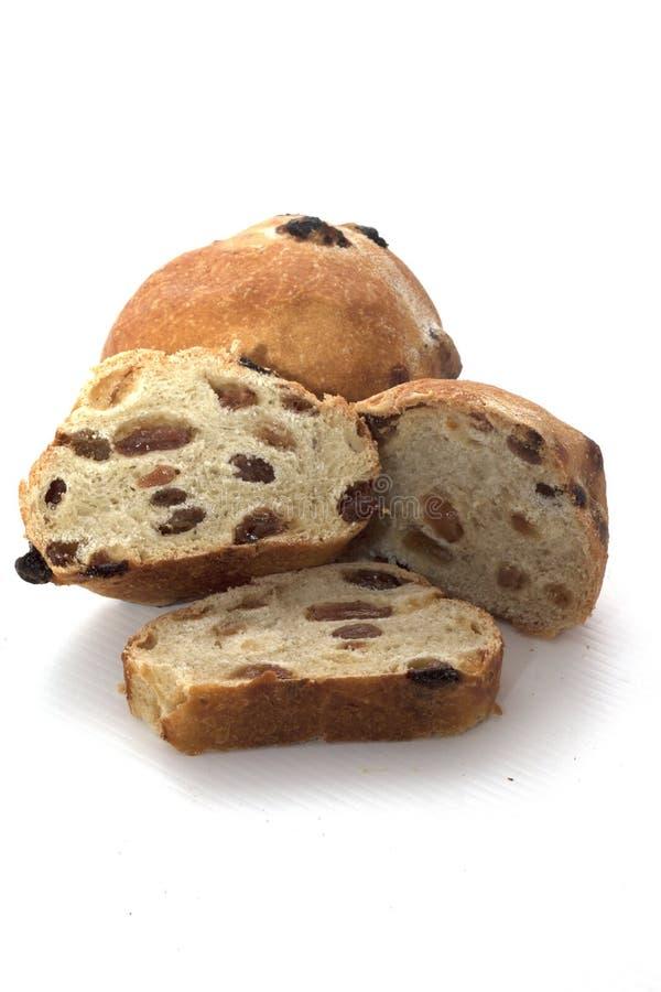 圆的面包用干葡萄干 库存图片