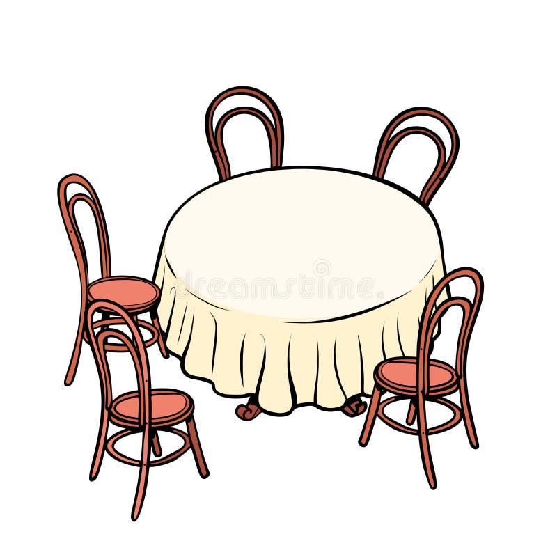 圆的餐桌和椅子  向量例证