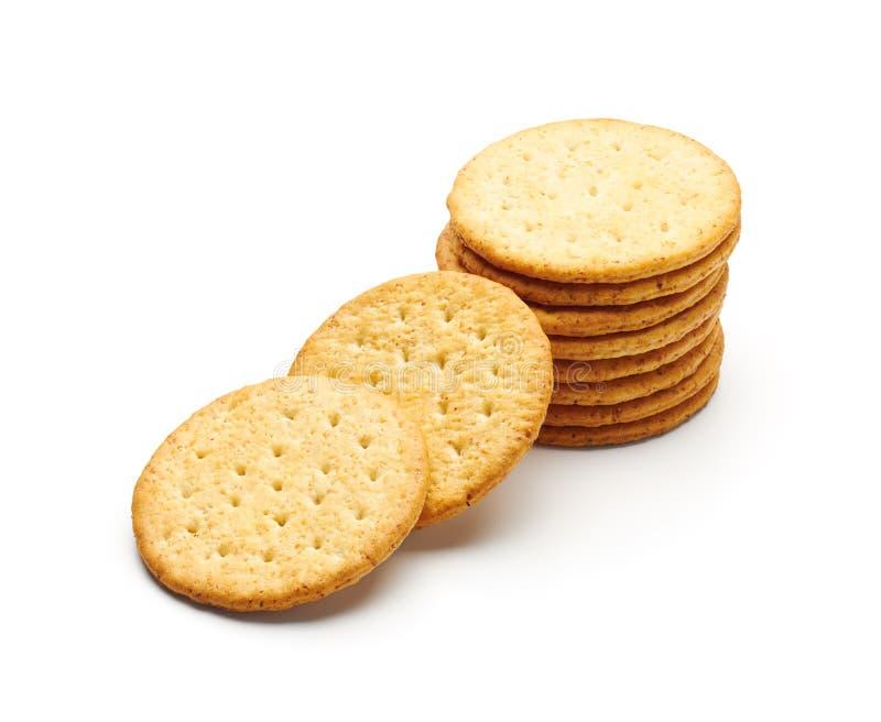 圆的麦子薄脆饼干隔绝了 库存图片
