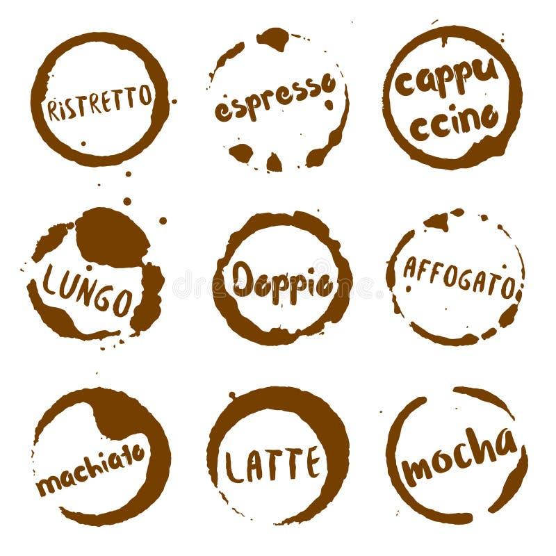 圆的水彩的意大利咖啡收藏 皇族释放例证