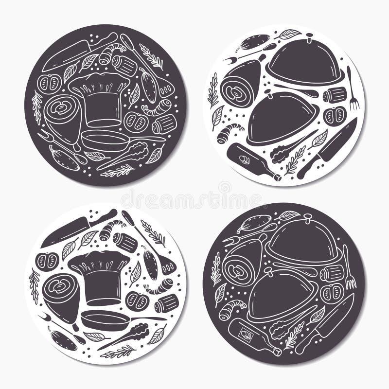圆的贴纸设置与乱画食物样式 手拉的象征模板 库存例证