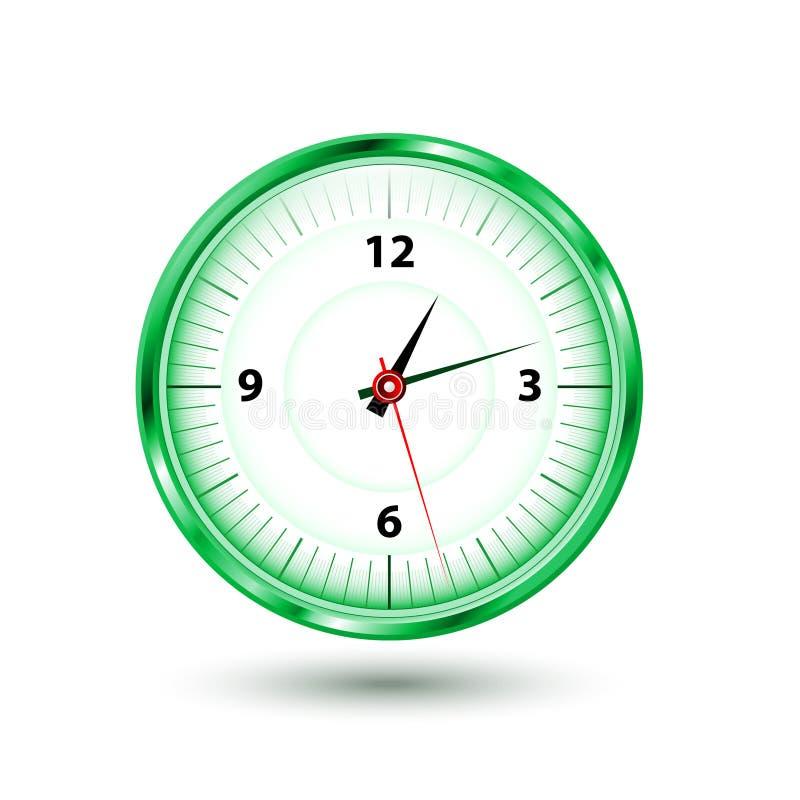 圆的绿色时钟 皇族释放例证