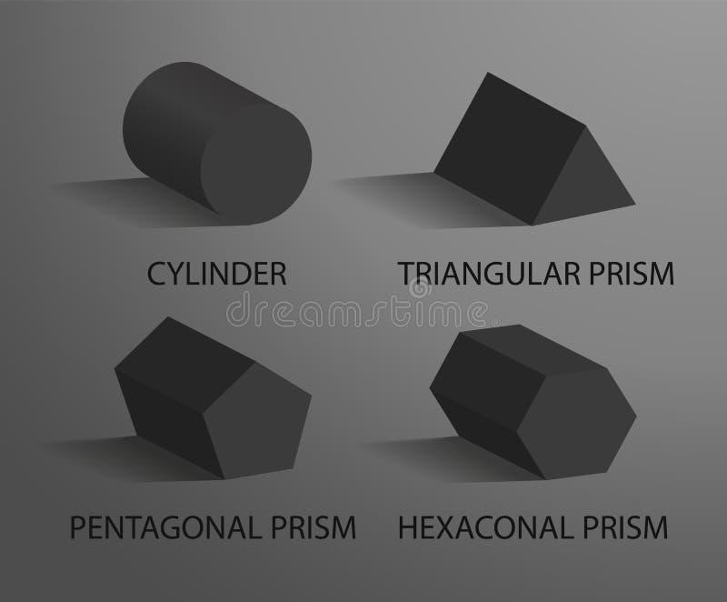 圆筒三角五角形和六角棱镜 库存例证