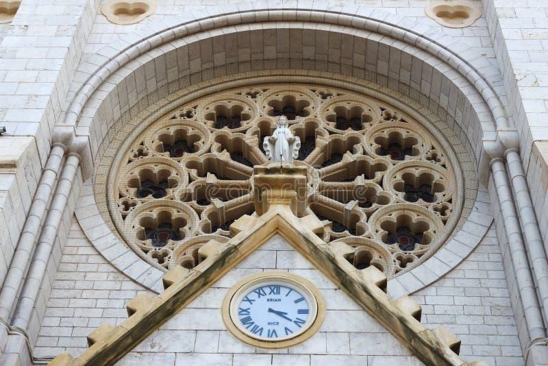 圆花窗, Notre Dame de Nice,法国大教堂  免版税库存照片