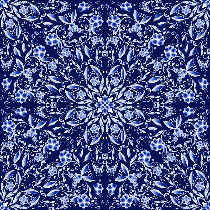 圆装饰品的无缝的花卉样式 仿照国画样式的深蓝背景在瓷 库存例证