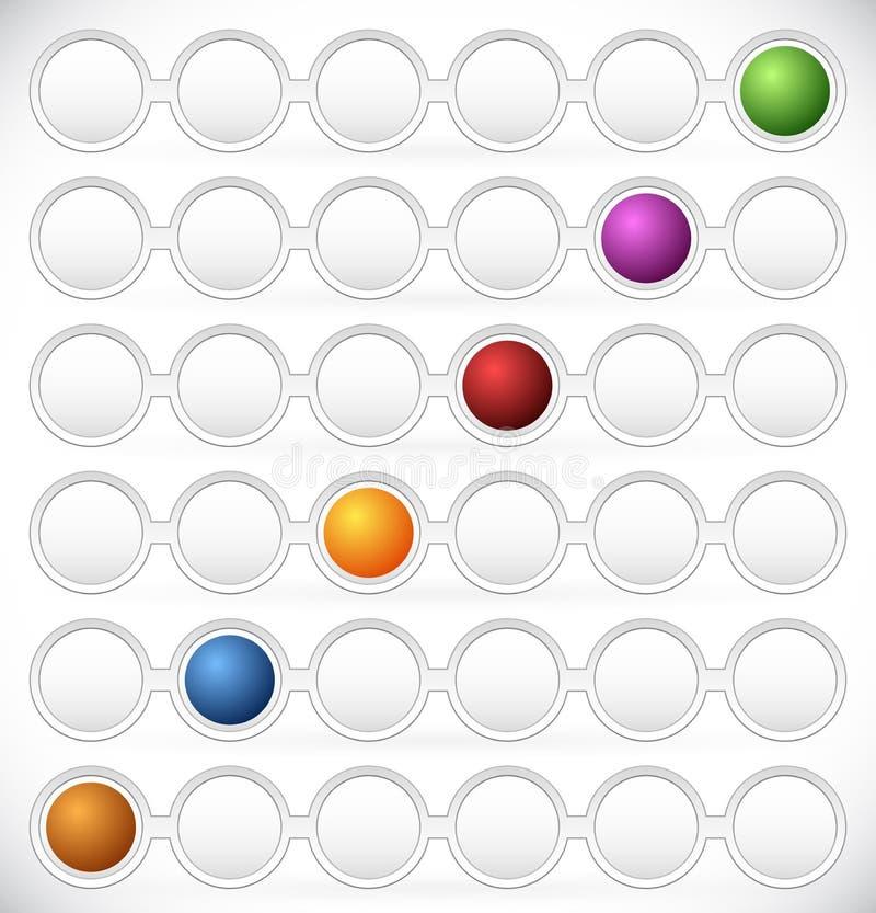 圆进程流程图元素 色编步,阶段, P 库存例证