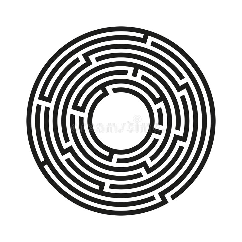 圆迷宫 具有进出的迷宫 寻找出路概念 矢量图 库存例证