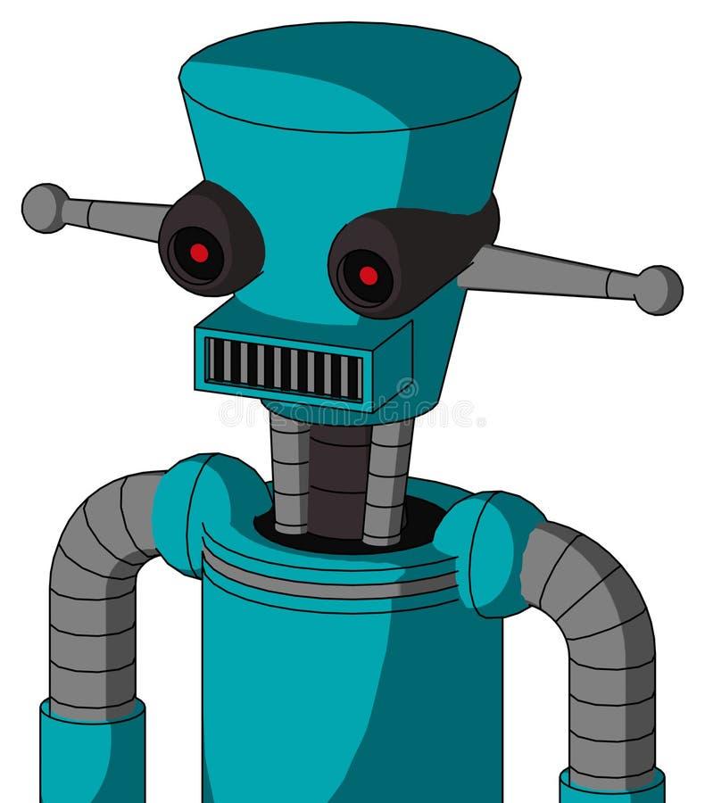 圆锥头方口黑发红眼的蓝色机器人 向量例证