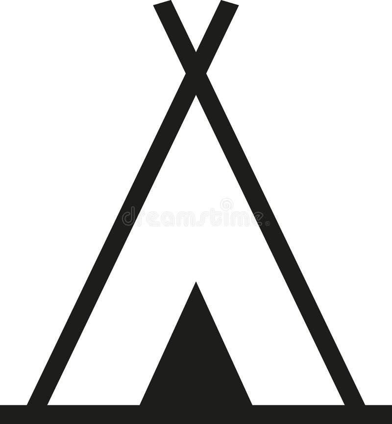 圆锥形帐蓬标志野营 向量例证