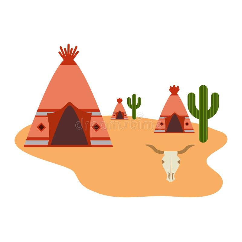 圆锥形帐蓬社区美国本地人仙人掌沙漠 向量例证