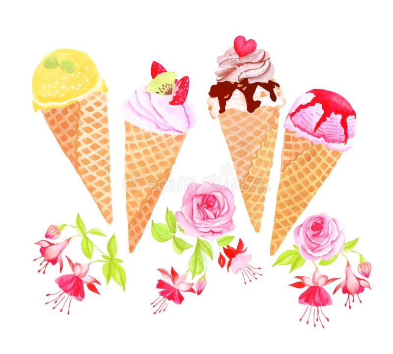 圆锥形的冰淇淋杯和花水彩传染媒介设计对象 向量例证