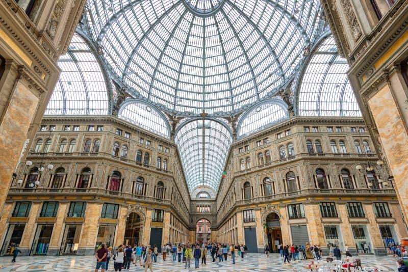 圆顶场所翁贝托我在那不勒斯,意大利 免版税库存照片