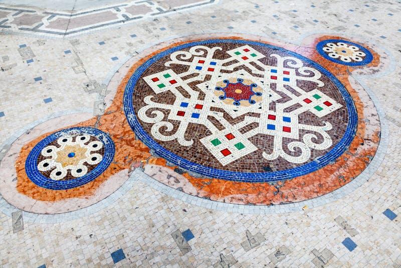 圆顶场所Vittorio Emanuele内部拼花地板II 图库摄影