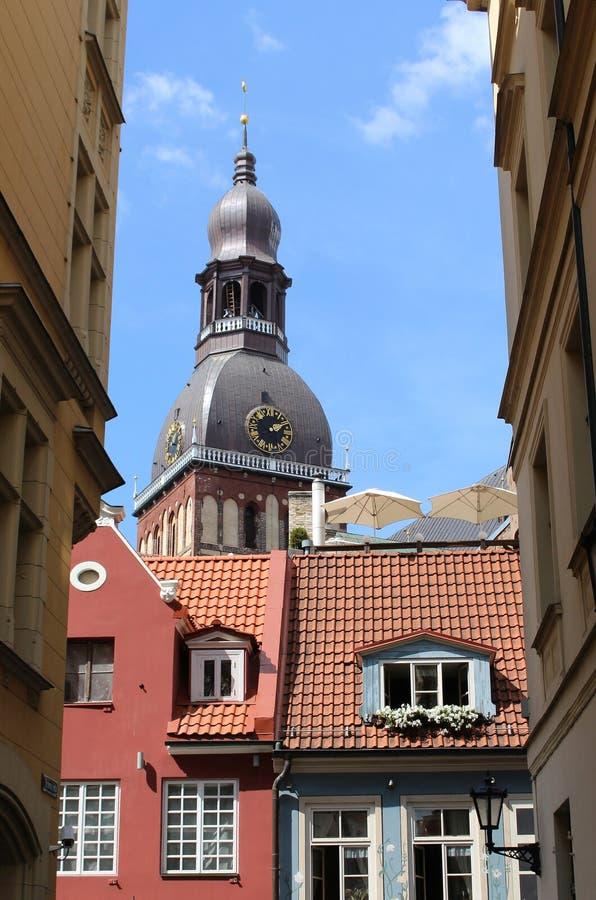 圆顶大教堂在里加,拉脱维亚老  图库摄影