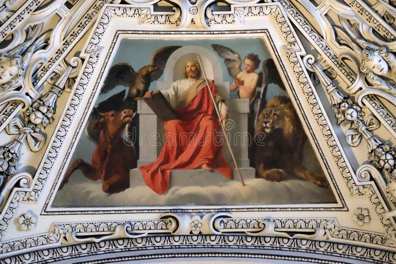 圆顶的片段在耶稣,萨尔茨堡主教座堂的变貌的教堂里 图库摄影