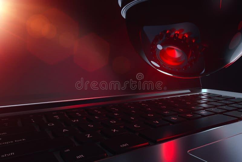 圆顶cctv和键盘在关闭射击 人工智能和可能的威胁概念 3d?? 免版税图库摄影