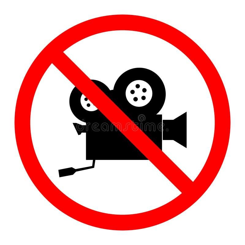 圆,平的`没有摄制`标志 照相机查出在测距仪葡萄酒白色 黑色红色 向量例证
