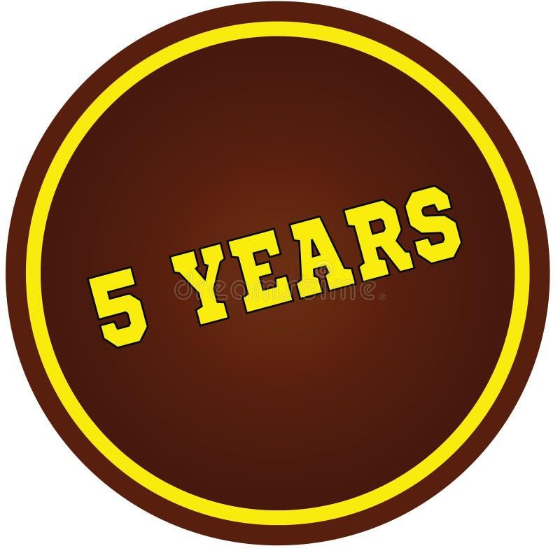 圆,棕色和黄色, 5年在白色背景盖印 免版税库存图片