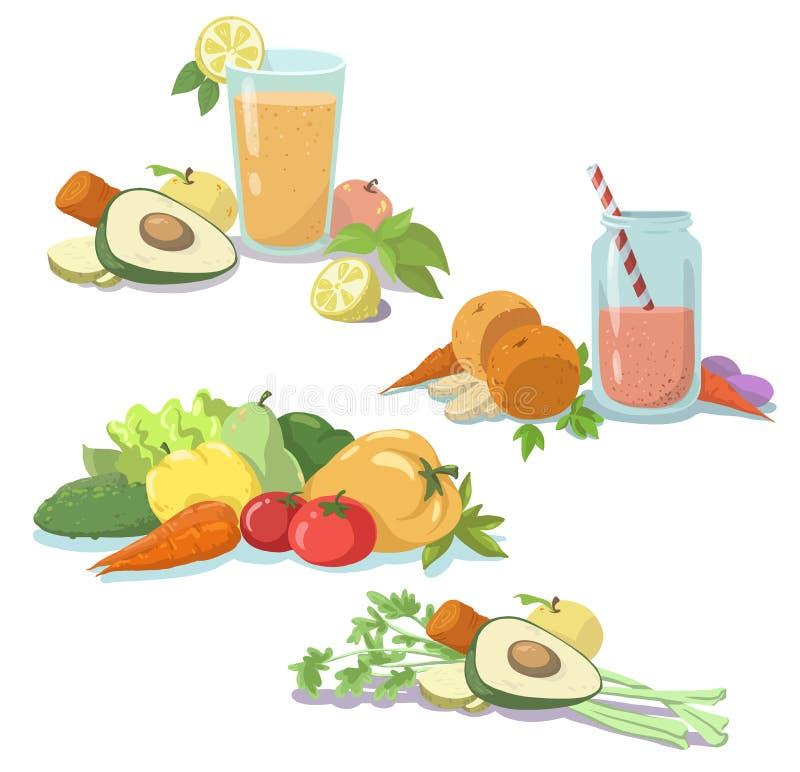 圆滑的人 新鲜的汁液 健康的饮食 水果和蔬菜 清洗食物 库存例证