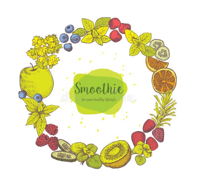 圆滑的人 草本、香料和果子 库存例证