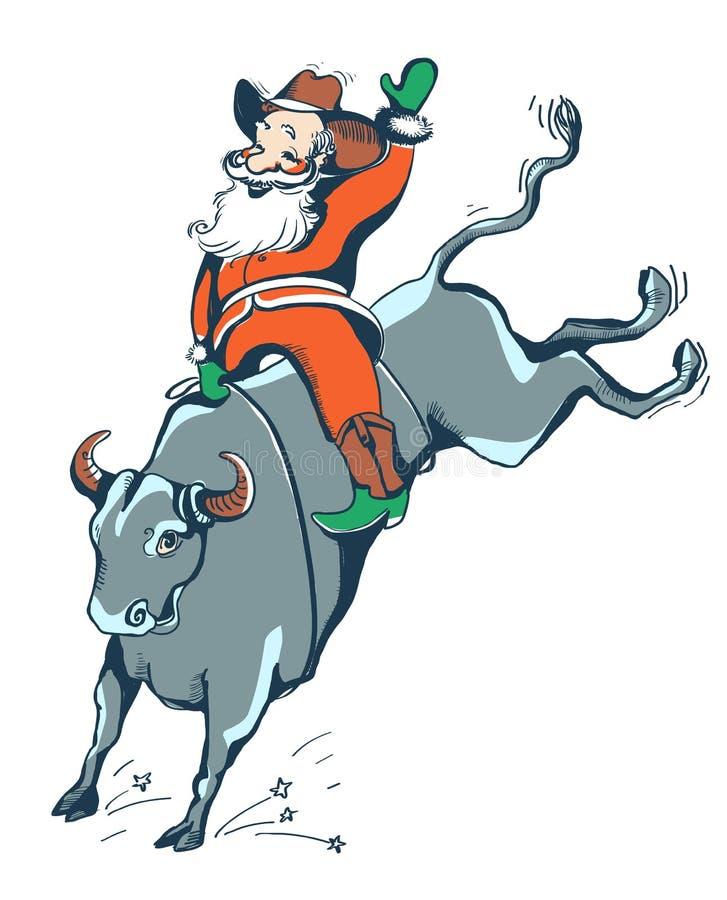 圈地的牛仔圣诞老人 西部圈地公牛骑马颜色illust 向量例证